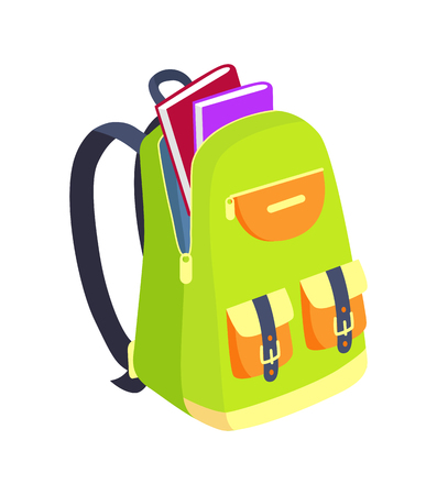 Illustration for Open Schoolbag with Books Side View Vector - Royalty Free Image