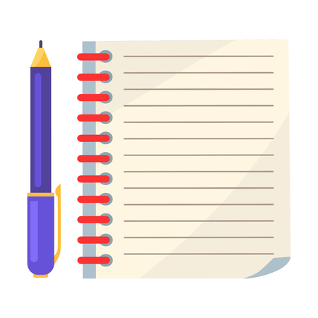Illustration pour Diary with Spiral or Page of Copybook and Ink Pen - image libre de droit
