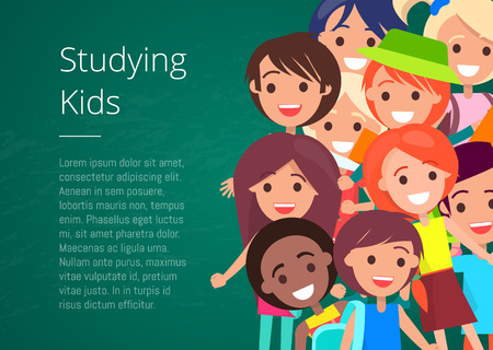 Illustration for Studying Kids Isolated Vector Illustration - Royalty Free Image