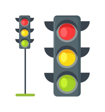 Ilustración de Icons of Traffic Lights Isolated Vector on White - Imagen libre de derechos