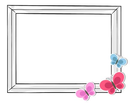 Ilustración de Black and White Photo Frame with Colorful Balloons - Imagen libre de derechos