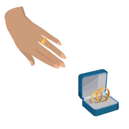 Illustration pour Golden Wedding Rings with Love Forever Engravings - image libre de droit