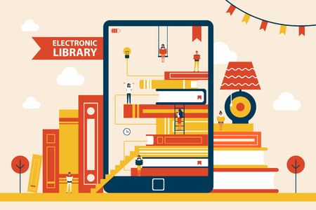 Illustration pour Electronic Library Promo Poster with Huge Tablet - image libre de droit