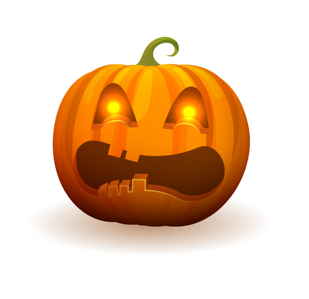 Illustration pour Pumpkin with lighted bright eyes, scary angry face and curled stem on top isolated cartoon vector illustration on white background. - image libre de droit