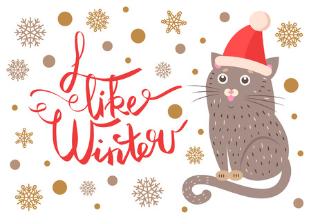 Illustrazione per I like winter poster representing sitting cat, wearing red hat, title sample and snowflakes on vector illustration isolated on white - Immagini Royalty Free