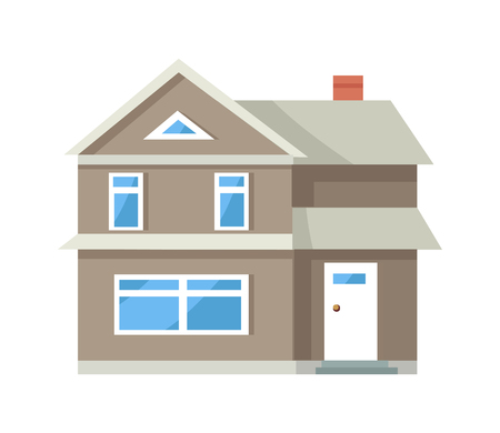 Illustration for Icon of Three Storey House of Grey Color with Door - Royalty Free Image
