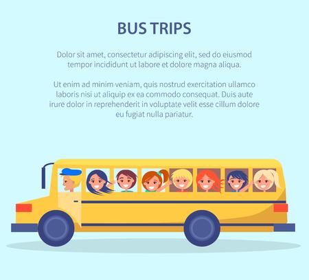 Illustration pour Bus Trips Vector Poster with Kids Yellow Transport - image libre de droit