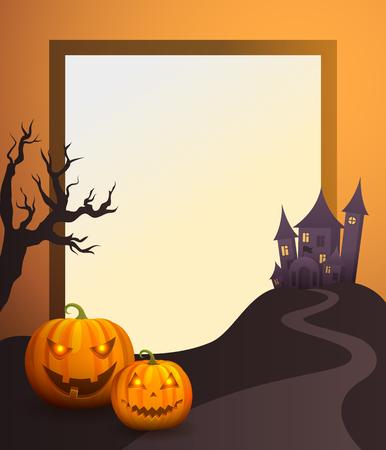 Illustration pour Halloween Photo Frame with Old Castle and Pumpkins. - image libre de droit