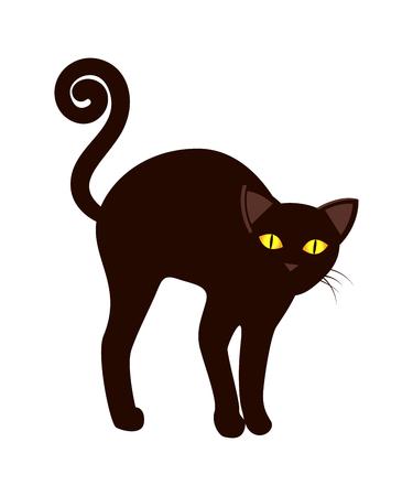 Illustration pour Black Cat with Long Tail Symbol Halloween Vector. - image libre de droit
