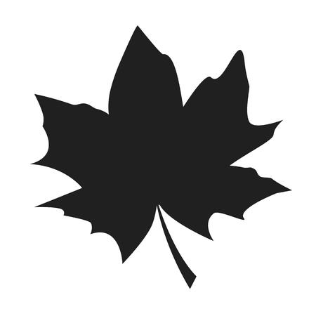 Illustration for Maple leaf black silhouette autumn fallen object vector illustration in realistic design isolated on white. Fall foliage element, dark leafage vector - Royalty Free Image