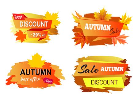 Illustration pour Best Autumn Discount Offer Vector Illustration - image libre de droit