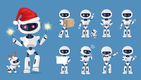 Illustration pour Funny Robot Set of Icons Vector Illustration - image libre de droit