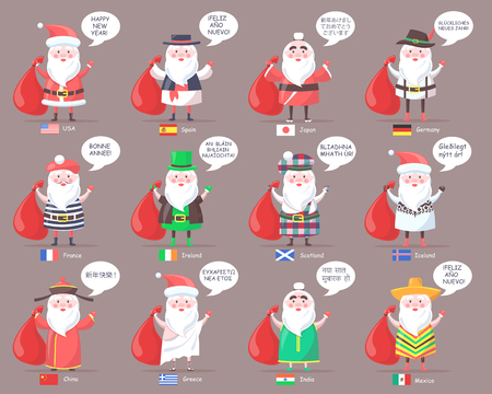 Illustration pour Santa Clauses from Countries All Over World - image libre de droit