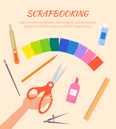 Illustration pour Scrapbooking Vector Poster with Stationary Items - image libre de droit