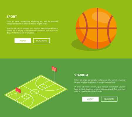 Illustration for Sport stadium web posters with basketball school playground 3D vector illustration with ball and field, text on green. Sportsground with baskets and grass - Royalty Free Image