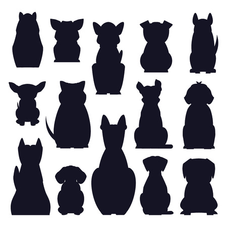 Illustration pour Cartoon dog breeds dark silhouettes isolated on white background. Small and big dogs vector illustration. Adorable, funny and loyal humans friends. Hunting, protection and decorative species - image libre de droit