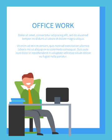 Illustration pour Office work with text sample written in blue color in frame and icon of man sitting at desk happy because of done job vector illustration - image libre de droit