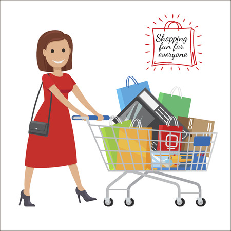 Illustration pour Shopping Fun For Everyone. Cartoon Woman with Cart - image libre de droit
