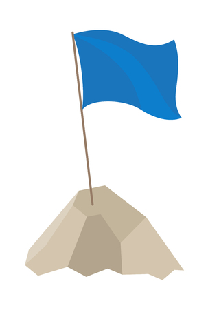 Illustration pour Flag with long pole and blue cloth on top of it, standing in high mountain, waving because of wind vector illustration isolated on white - image libre de droit
