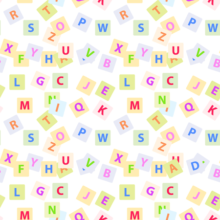 Illustration pour Seamless pattern with English alphabet letters isolated on white background. Endless texture with ABC elements, wallpaper design - image libre de droit