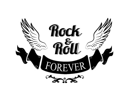 Illustration pour Rock n roll forever, title written in black ribbon placed beneath icon of wings represented on vector illustration isolated on white - image libre de droit