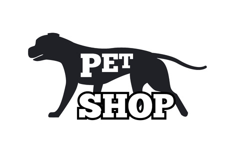 Illustration for Pet Shop Logotype Design Canine Animal Silhouette - Royalty Free Image