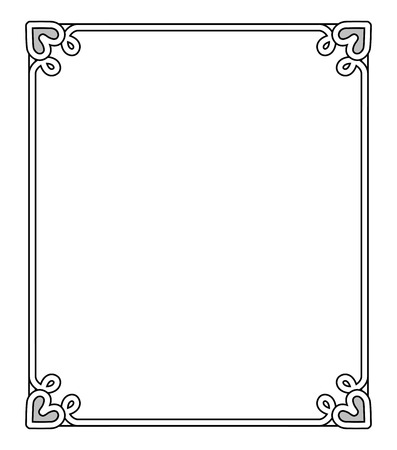 Ilustración de Frame with heart-shaped figures at each corner on top and on bottom, empty inside of it vector illustration isolated on white background - Imagen libre de derechos
