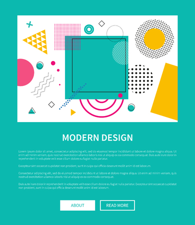 Illustration for Modern Design of Web Poster with Buttons Vector - Royalty Free Image
