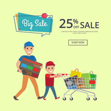 Illustration pour Father and son making shopping with trolley cart full of presents and bags, big sale 25 percent of web banner with place for text vector illustration - image libre de droit