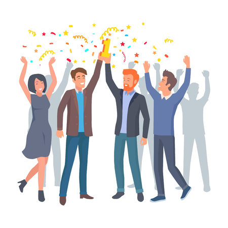 Ilustración de Team of Colleagues Celebrate win in Startup Vector - Imagen libre de derechos