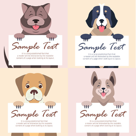 Illustration for Dogs holding a banner icons. - Royalty Free Image
