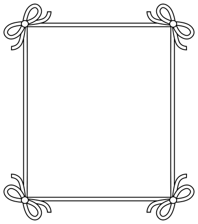 Ilustración de Ornamental frame with vintage decor elements, decorative bows vector illustration in linear style isolated on white background, colorless photoframe - Imagen libre de derechos