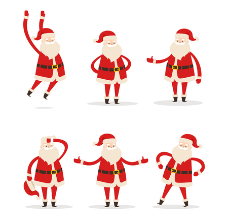 Illustration pour Set of Santa Clauses in Different Pose Vector Icon - image libre de droit