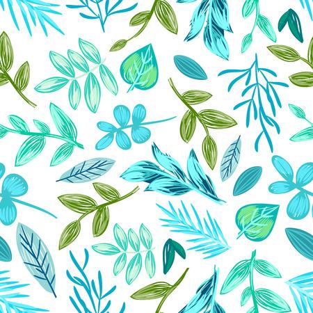 Ilustración de Drawn Plants Seamless Pattern Vector Illustration - Imagen libre de derechos