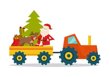 Illustration pour Santa Claus on Strong Model of Modern Transport - image libre de droit