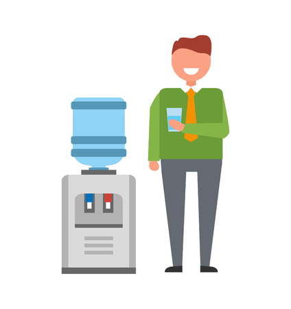 Illustrazione per Man with Water Cooler Icon Vector Illustration - Immagini Royalty Free