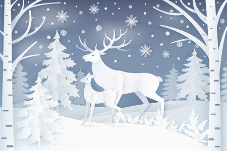 Illustration for Deer in winter forest icon. - Royalty Free Image