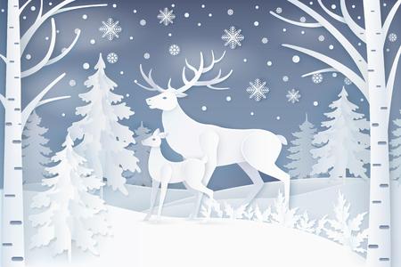 Illustration pour Deer in winter forest icon. - image libre de droit