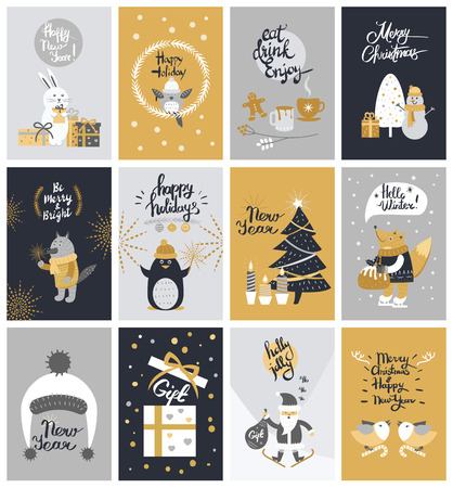 Illustration pour Collection of Twelve Colourful Christmas Pictures - image libre de droit