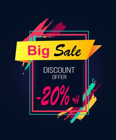 Illustration pour Big Sale Discount Offer -20 in Rectangular Frame - image libre de droit