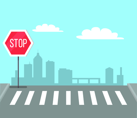 Illustration pour Pedestrian crossing with stop sign, traffic light vector illustration on background of city center. Place on road to cross the street - image libre de droit