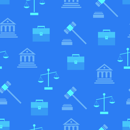 Illustration pour Seamless pattern with law symbols as hammer, judgement building, briefcase and scales silhouettes vector illustrations on blue background - image libre de droit