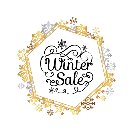 Illustration pour Winter sale poster in decorative frame made of silver and gold snowflakes, snowballs in xmas border, presents and gifts isolated on white vector - image libre de droit