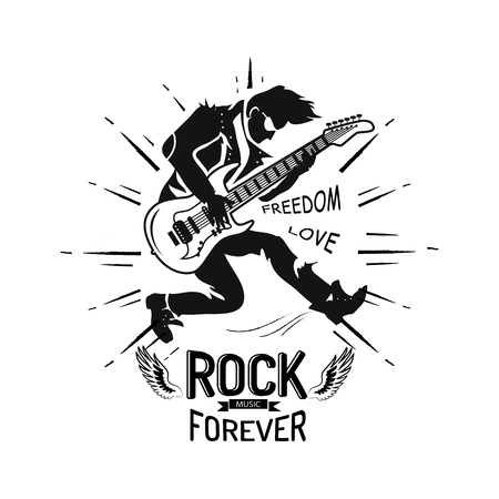 Illustration pour Rock forever freedom and love, guitarist playing electric guitar, icon decorated with lines and wings vector illustration isolated on white - image libre de droit