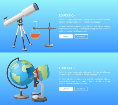 Illustration pour Education Web Banner with Geography and Astronomy - image libre de droit