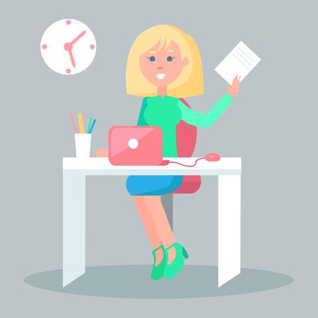 Illustration pour Cartoon female character sits at table with laptop  office - image libre de droit
