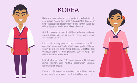 Illustration pour Korea representatives of culture and customs, man and woman in traditional outfit vector international day, ethnic people with text, native koreans - image libre de droit