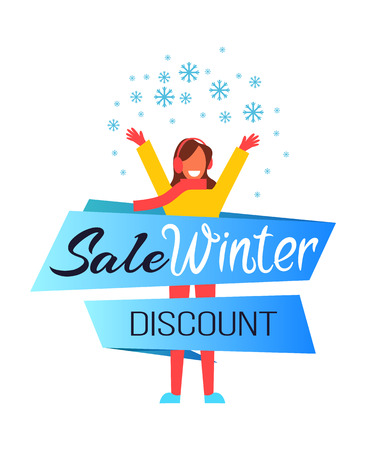 Illustration pour Sale winter discount, woman wearing scarf and warm clothes with raised hands, lady in good mood because of snow and sale vector illustration - image libre de droit