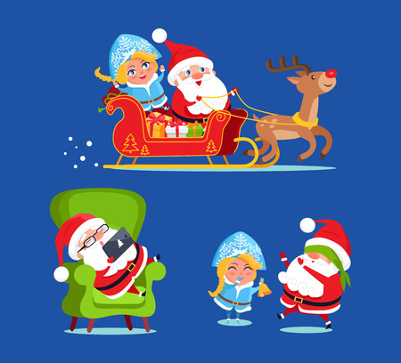 Photo for Santa and Snow Maiden Icons Vector Illustration - Royalty Free Image