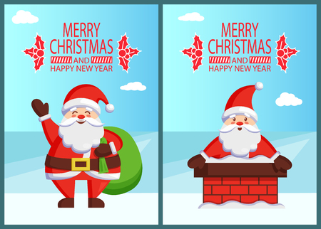 Illustration pour Merry Christmas Happy New Year poster inscription with mistletoe Santa and bag with gifts Claus in brick chimney. Vector St. Nicholas holding huge sack - image libre de droit